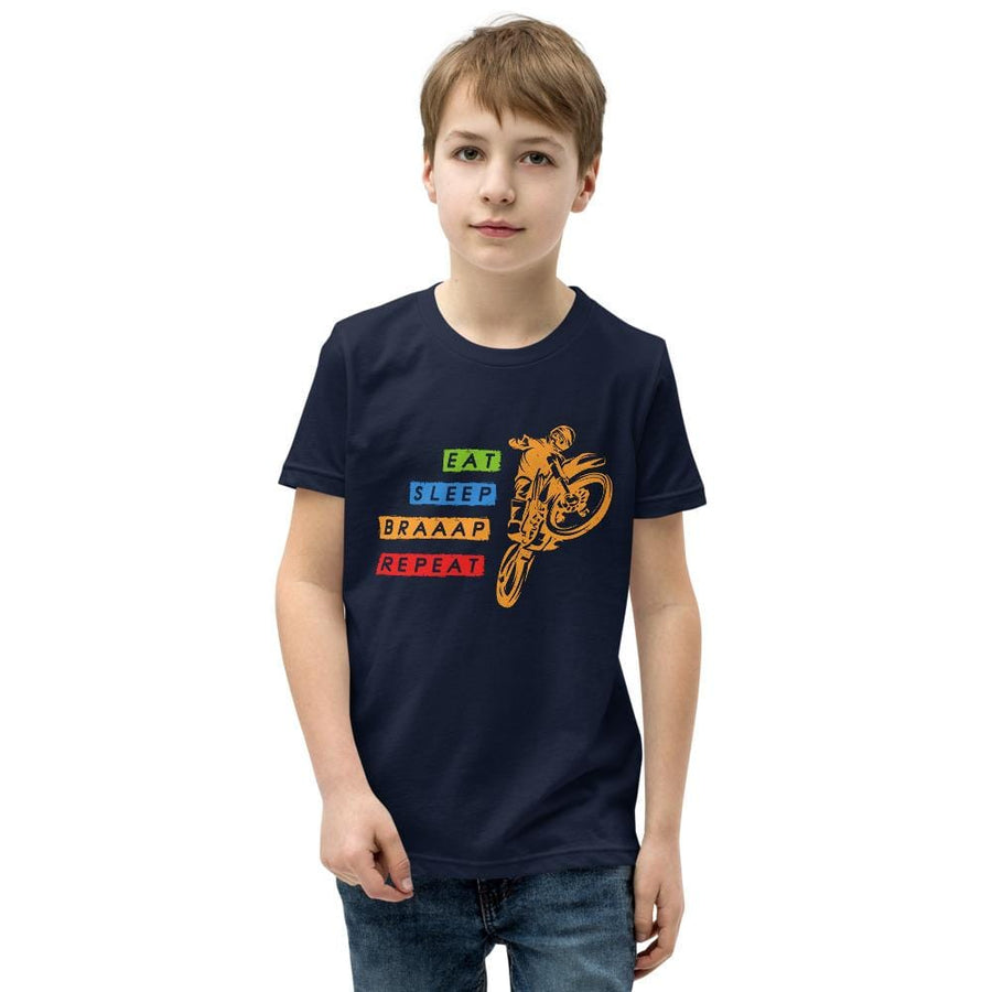 Eat Sleep Braaap Repeat Motocross Unisex Youth T-Shirt