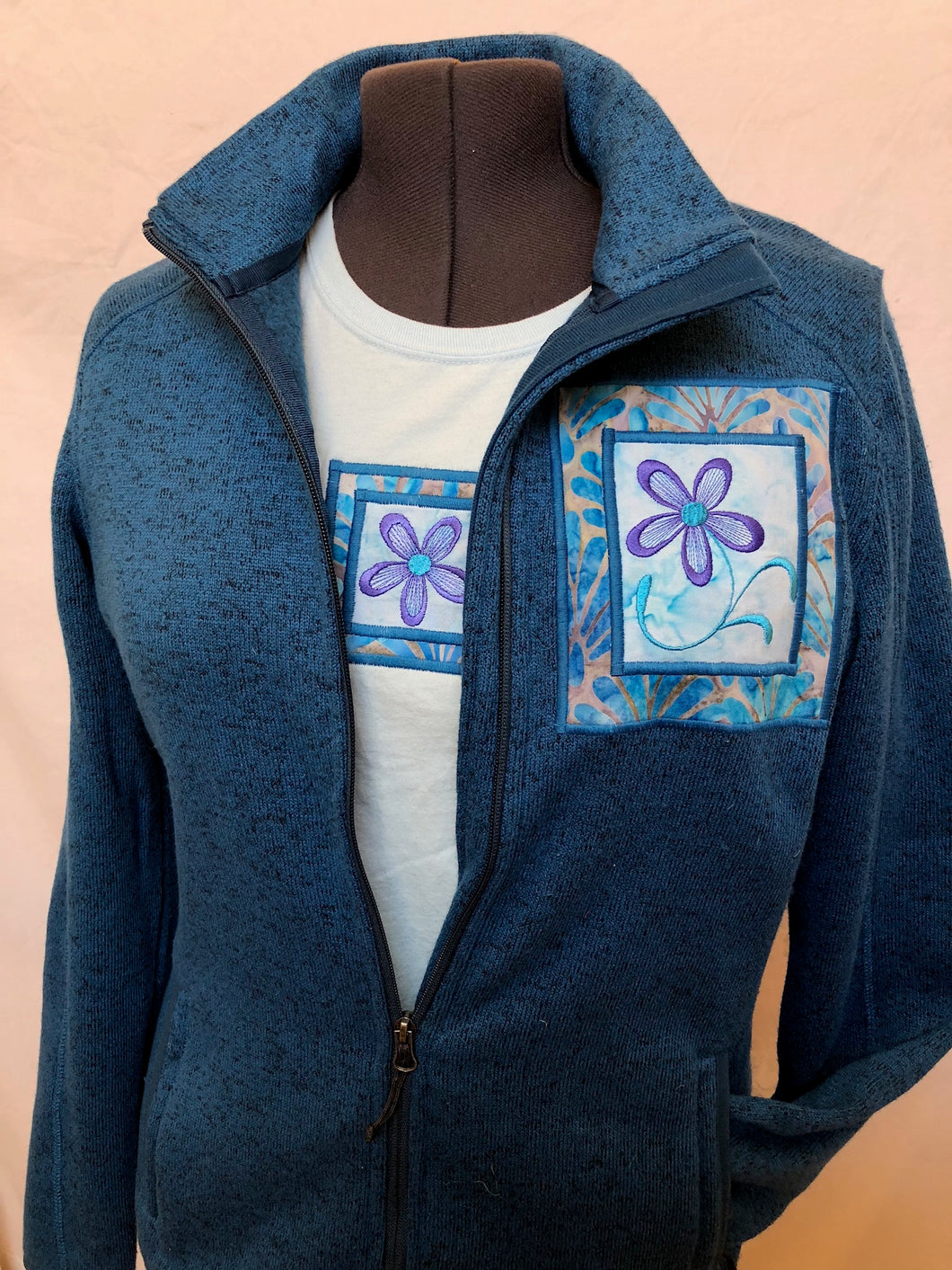 Blue Heather Zip Jacket Matching Short Sleeve T-Shirt