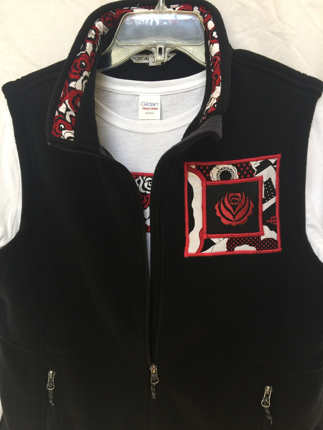 Black Vest with Red Rose Matching Long Sleeve T-Shirt