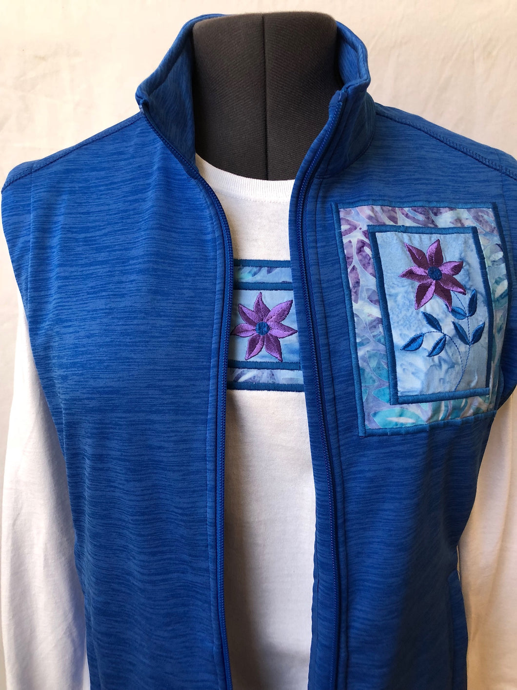 Royal Heather Blue Vest Matching Long Sleeve T-Shirt