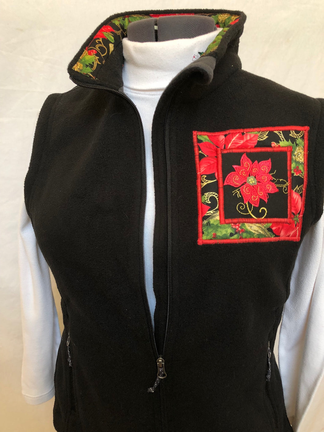 Black Poinsettia Vest