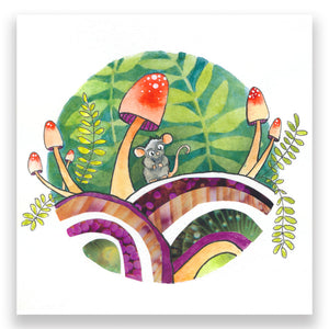 Load image into Gallery viewer, Mouse In Fern Garden 4x4 Mini Art Block