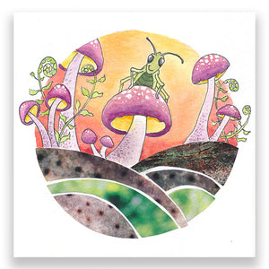 Load image into Gallery viewer, Grasshopper Toadstools 4x4 Mini Art Block