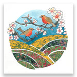 Apple Blossom Robins 4x4 Mini Art Block