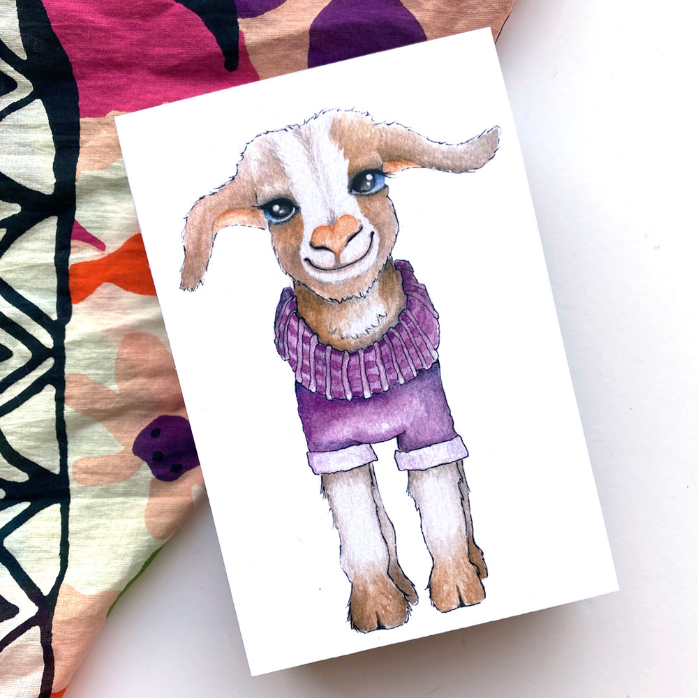 Goat In Sweater 4x6 Mini Art Block