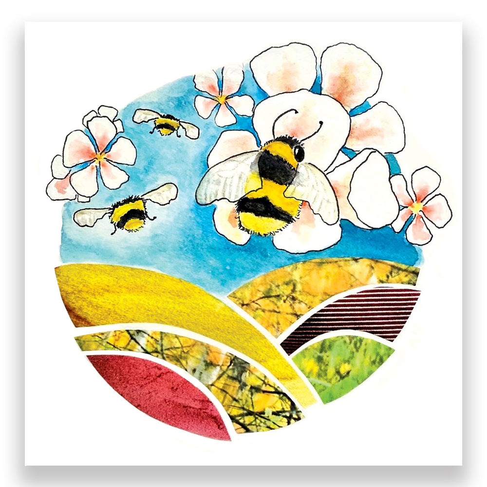 Load image into Gallery viewer, Apple Blossom Mini Bees 4x4 Mini Art Block