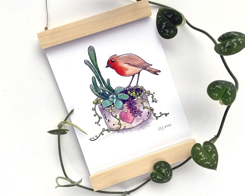 Pip The Robin Succulents 5x7 Print