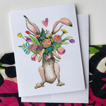 Bunny with Flowers - Greeting Card