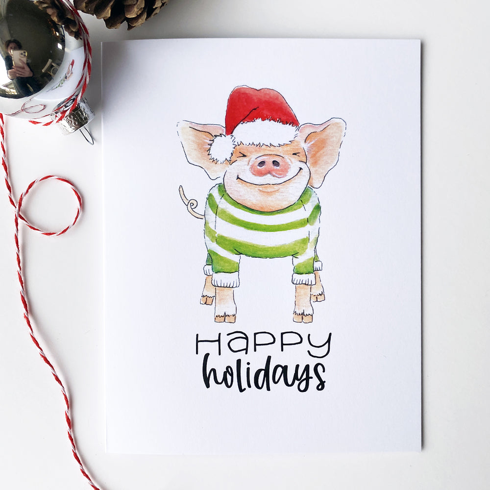 Load image into Gallery viewer, Pig Holiday Card
