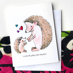 Mom and Baby Hedgehog - Greeting Card