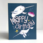 Narwhal and Jellyfish Birthday Card