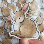 Sitting Bunny Sticker - Vinyl Sticker
