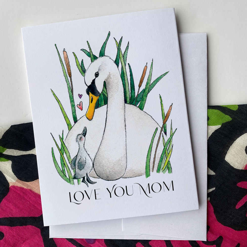 Mom and Baby Swan - Greeting Card