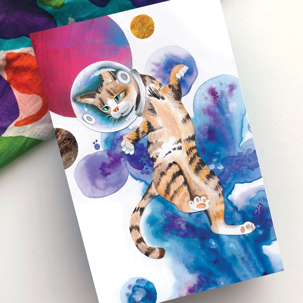 Tiger Tabby Space Cat 4x6 Art Block