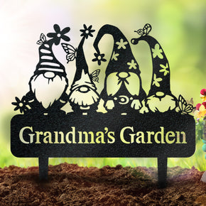 Garden Gnome Monogram - Metal Yard Signs