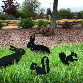 Garden Rabbit & Squirrel Set - 4 Metal Yard Signs