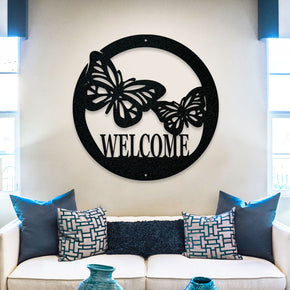 Butterfly Circle Welcome Sign