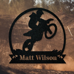 Dirt Bike Motorcycle Monogram Metal Sign
