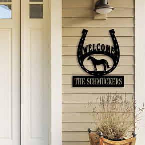 Horseshoe Welcome Monogram Sign