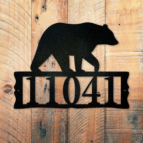 Bear Metal Address Plaque