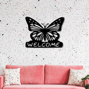Butterfly Welcome Metal Sign