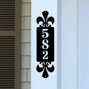Vertical Metal Address Sign