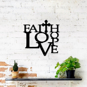 Faith, Love, Hope with Cross - Metal Sign