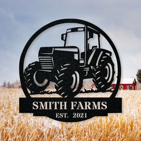 Farm Tractor monogram metal sign