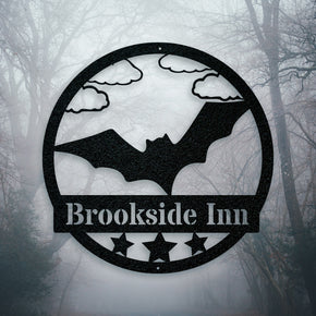Halloween Bat Metal Name Sign