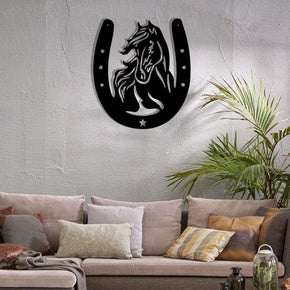 Horse Head Horseshoe - Metal Sign