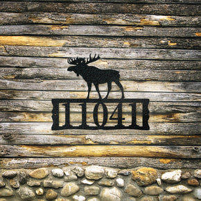 Moose Metal Address Plaque