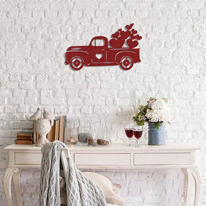 Valentine Truck with Hearts - Metal Sign