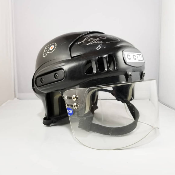 Mark Recchi 2003 Philadelphia Flyers Game Used Black CCM Helmet - GameWornDirect