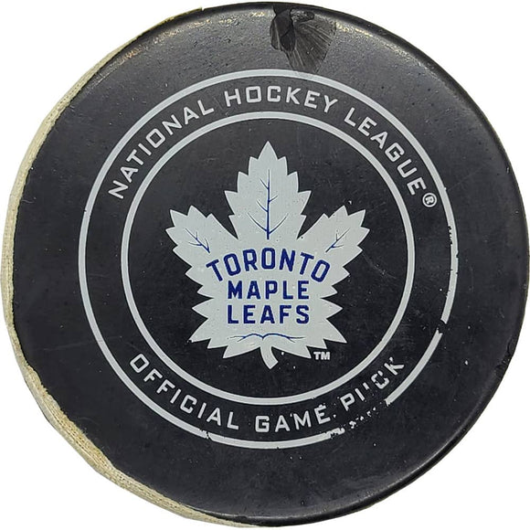 John Tavares Toronto Maple Leafs NHL Goal Puck - 12/23/2018 - GameWornDirect