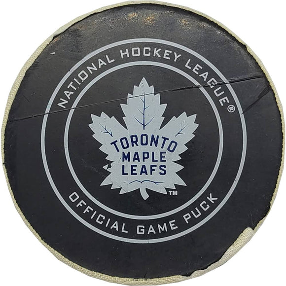 John Tavares Toronto Maple Leafs NHL Goal Puck - 2/21/2019 - GameWornDirect