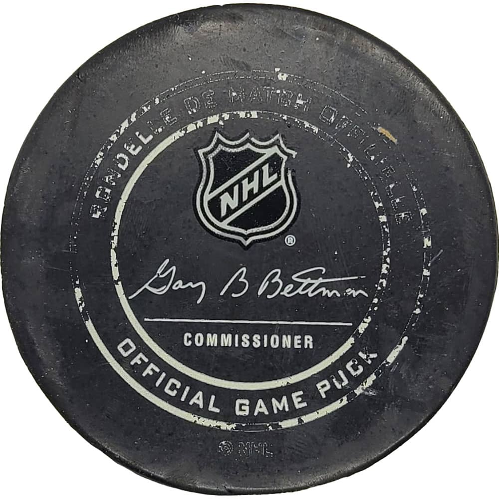 John Tavares Toronto Maple Leafs NHL Goal Puck - 2/25/2019 - GameWornDirect