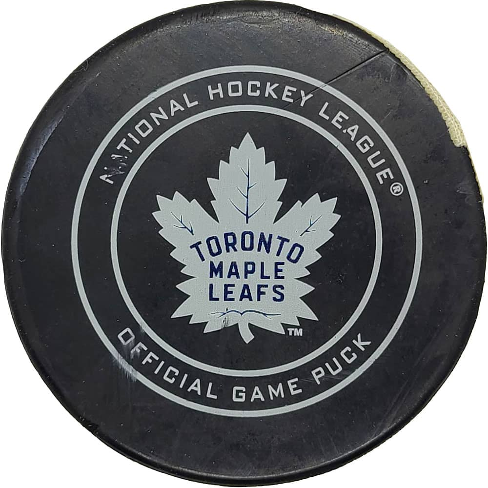 John Tavares Toronto Maple Leafs NHL Goal Puck - 3/13/2019 - GameWornDirect