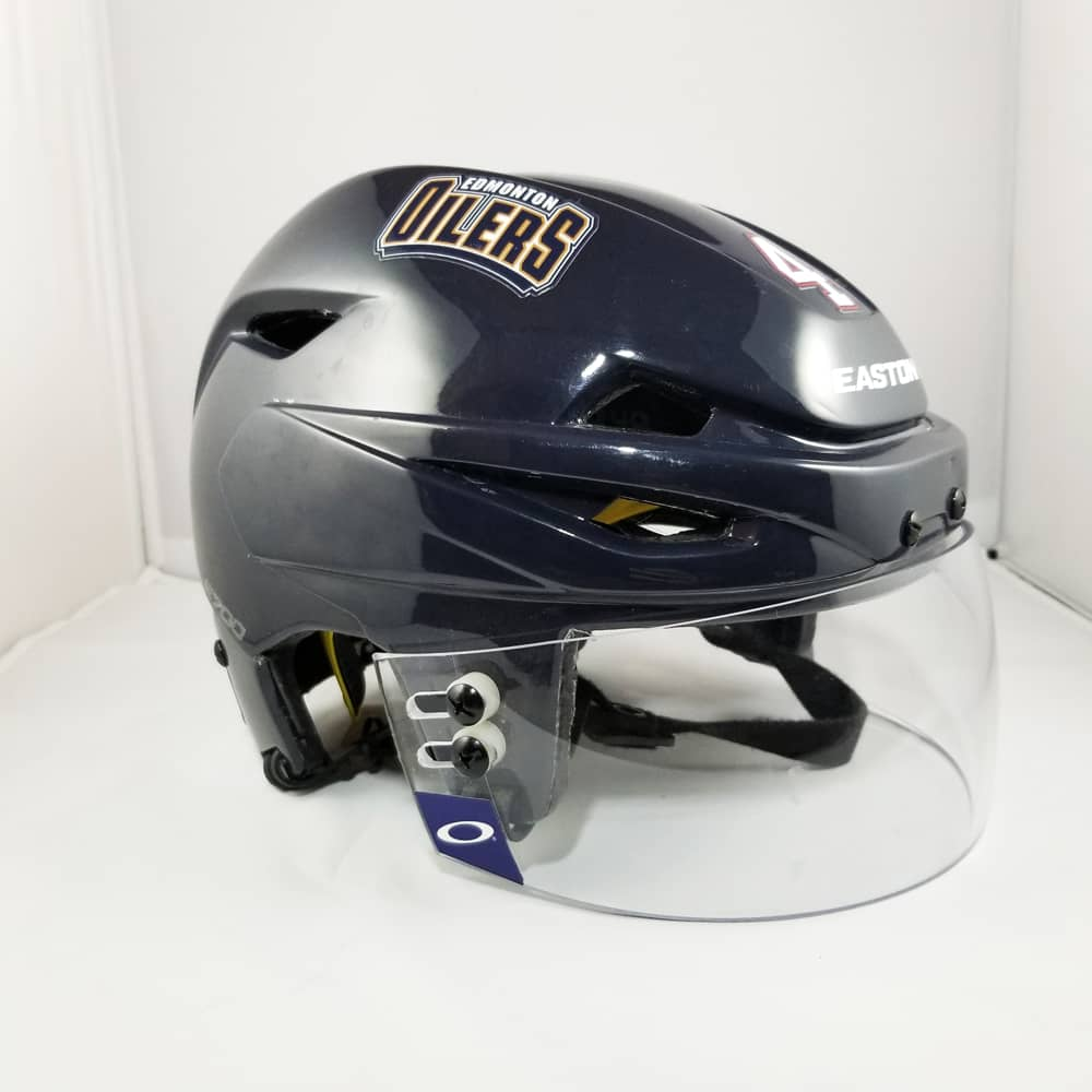 Taylor Hall 2011-12 Edmonton Oilers Game Used Navy Easton Helmet - GameWornDirect