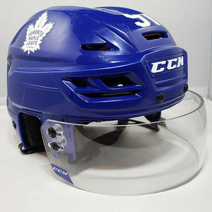 John Tavares 2018-19 Toronto Maple Leafs Game Used Blue Home Helmet - GameWornDirect