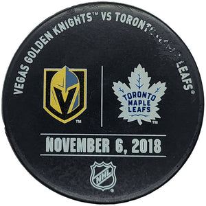Vegas Golden Knights @ Toronto Maple Leafs Practice Used Puck - 11/6/2018 - GameWornDirect