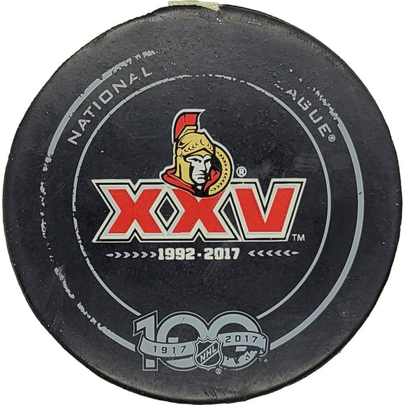 Derick Brassard Ottawa Senators NHL Playoff Goal Puck - 5/6/2017 - GameWornDirect