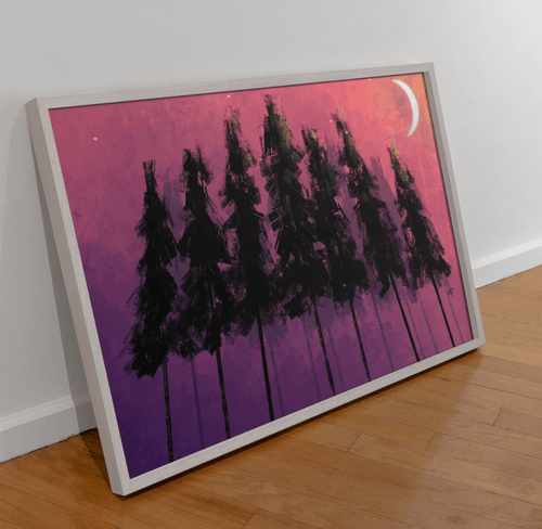 Nighttime Forest Scenery Art Print