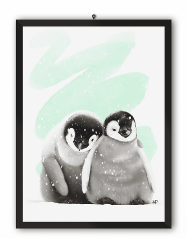 Penguin Embrace Bird Art Print