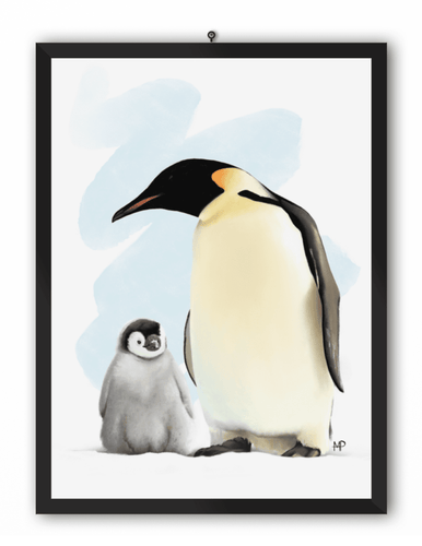 Penguin & Chick Bird Art Print