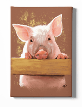 Load image into Gallery viewer, Piggy Animal Canvas Art