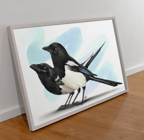Two For Joy Magpie Bird Art Print