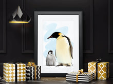 Load image into Gallery viewer, Penguin & Chick Bird Art Print & Canvas - Mat Price Art | Original Artwork, Wall Art & Art Prints