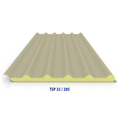35 / 205 PPGI Corrugated Sandwich Panel with 75mm PIR Insulation
