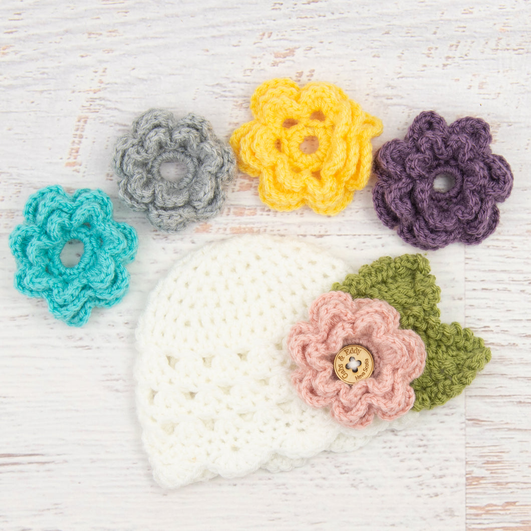 Children's Scalloped Edge Beanie with 5 Flowers