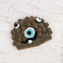 Load image into Gallery viewer, In-Stock 0-6 Month Little Monster in Barley with Aqua Marine Eye.